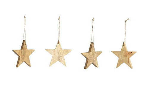Decorazione in legno stella grande (set di 4)