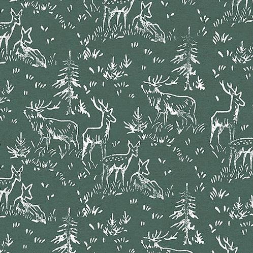 Carta regalo con renne - Verde