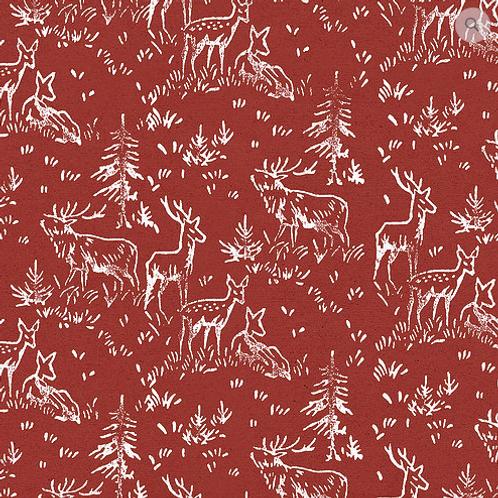 Carta regalo con renne - Rossa