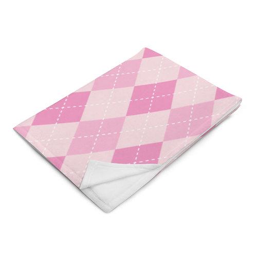 Awareness Argyle Plush Blanket