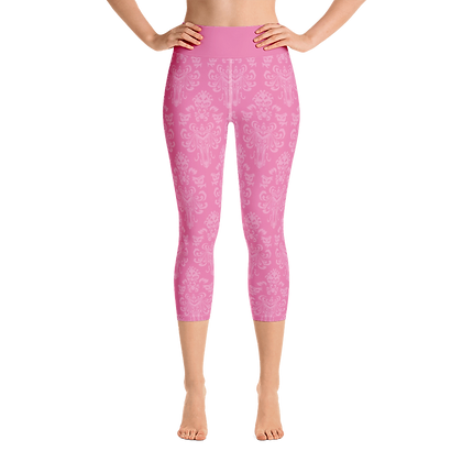 Happy Haunts Yoga Capris - Dark Pink