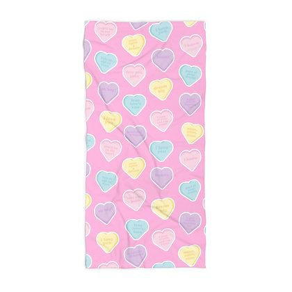 Candy Hearts Beach Towel