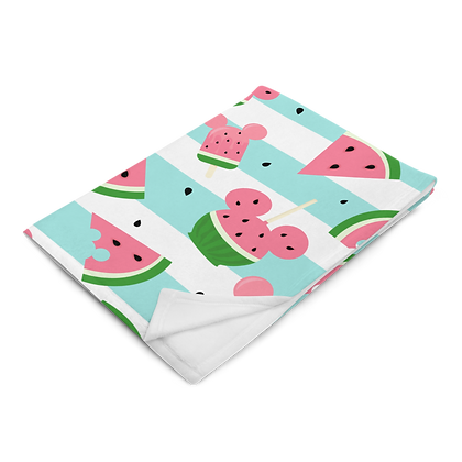 Summer Melon Plush Blanket - Blue