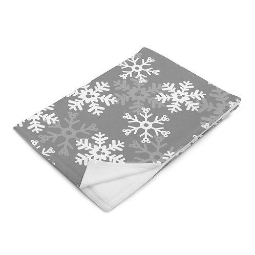 Snoap Flakes Plush Blanket - Gray