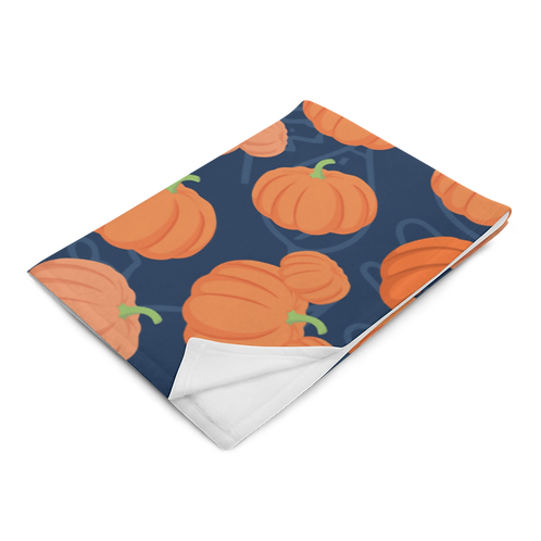 Pumpkin Patch Plush Blanket - Navy