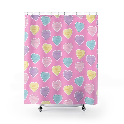 Candy Hearts Shower Curtains
