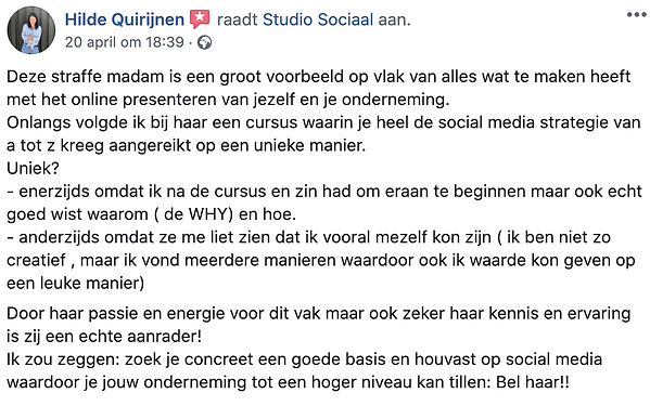 Review Studio sociaal social media cursu