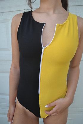 Zip-Up Thong Bodysuit