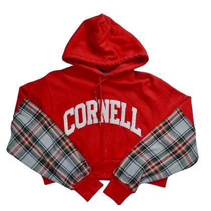 Reworked College Flannel-Sleeve Hoodie - S