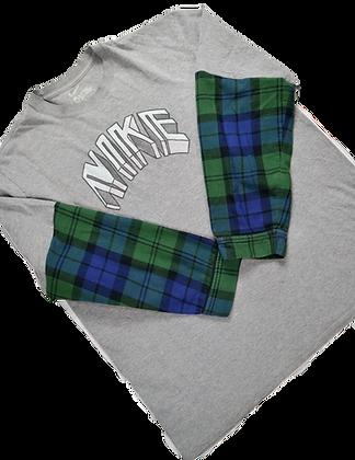 Reworked Nike Flannel-Sleeve Tee - XL