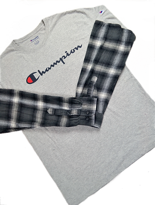 Reworked Champion Flannel-Sleeve Tee - L