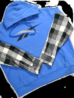 Reworked Reebok Flannel-Sleeve Hoodie - L