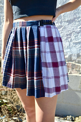 Reworked Pleated Flannel Skirt