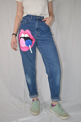 Hand-Painted Mom Jeans