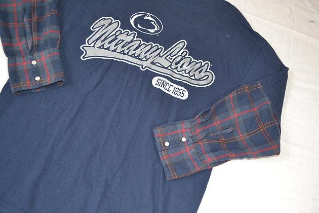 Reworked Penn State Flannel-Sleeve Tee