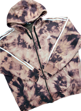 Hand-Dyed Adidas Zip-Up Hoodie - XL