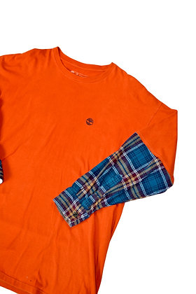 Reworked Timberland Flannel-Sleeve Tee - XL