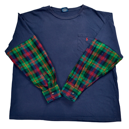 Reworked Polo by Ralph Lauren Flannel-Sleeve Tee