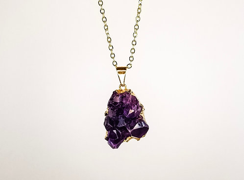 Amethyst Druzy Necklace - Gold Dipped