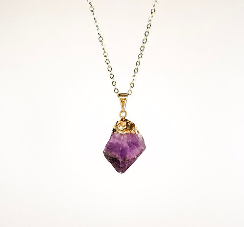 Amethyst point Necklace - Gold Dipped