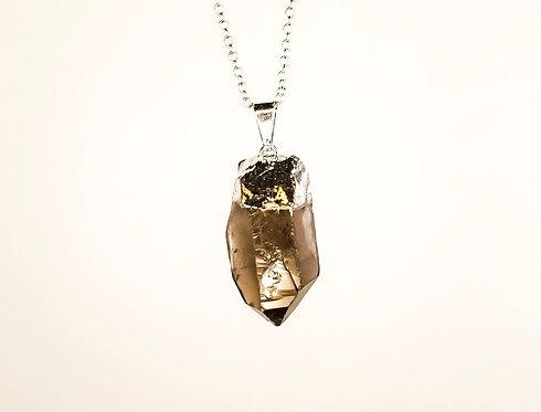 Smokey Quartz Necklace - Gold Dipped