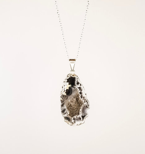 Geode Necklace - Silver Dipped