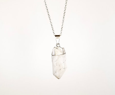 Clear Quartz Necklace - Silver Dipped