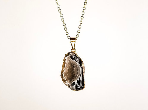 Geode Necklace - Gold Dipped