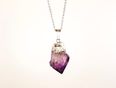 Amethyst Necklace - Silver Dipped