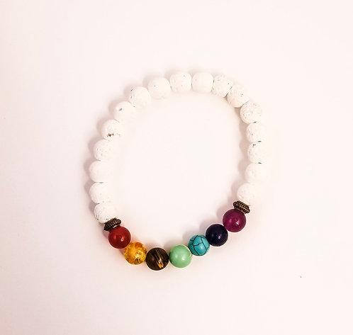 7 Chakra White Natural Stone Beaded Bracelet