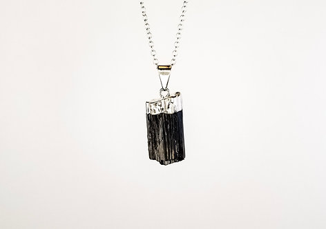 Black Tourmaline Necklace - Silver Dipped