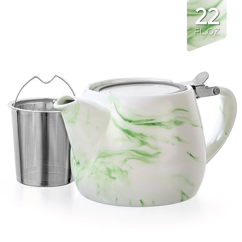 Marble Porcelain Green Teapot With Infuser 22oz