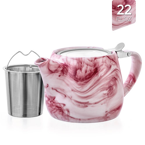 Marble Porcelain Red Teapot With Infuser 22oz