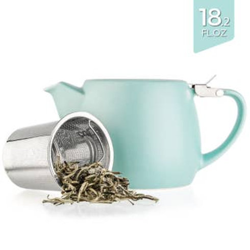 Drago Turquoise Small Ceramic Teapot With Infuser 22oz