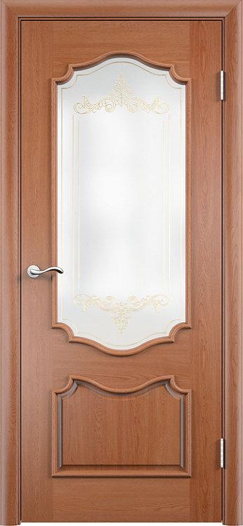 Межкомнатная дверь Верона с/о белое + контур золото  «дуб»