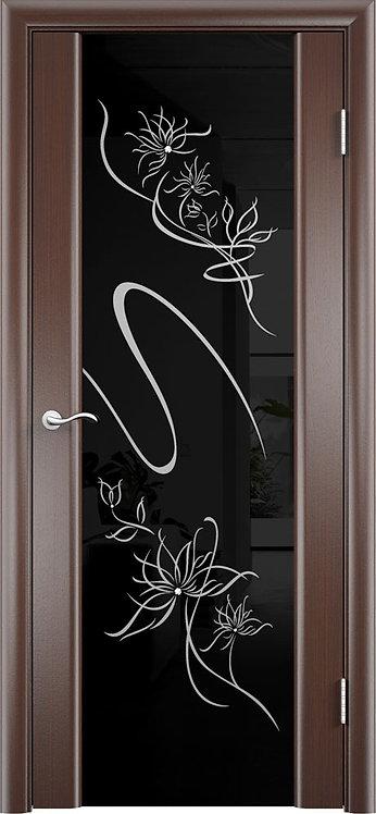 Межкомнатная дверь Альмека триплекс чёрный «чёрный дуб»