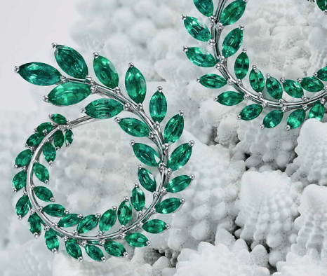 © Chopard. Earrings from the Green Carpet collection.
