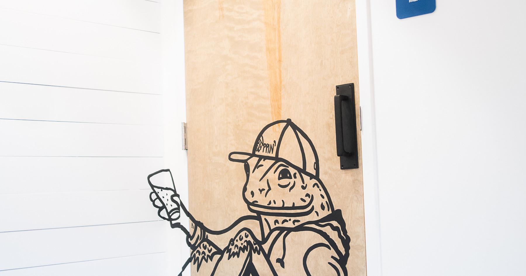 Hoppin' Urban Frog Bathroom Door