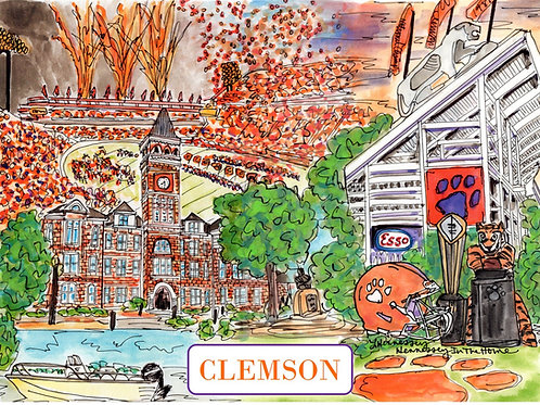Clemson Watercolor - 8x10 Print