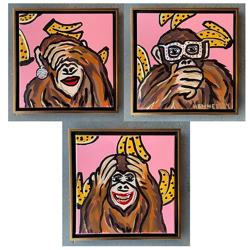 """12""""X12"""" Framed // Set of 3' // Monkeys"""
