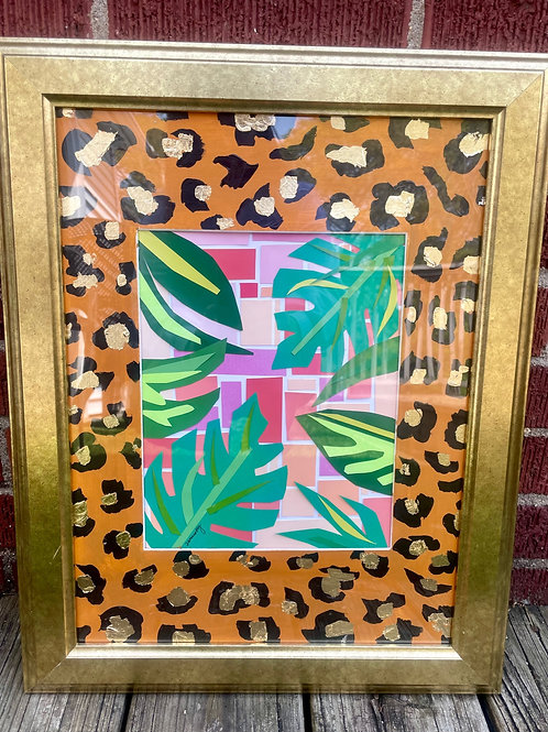 "Mixed Media Palms // 14""x20"" Framed"