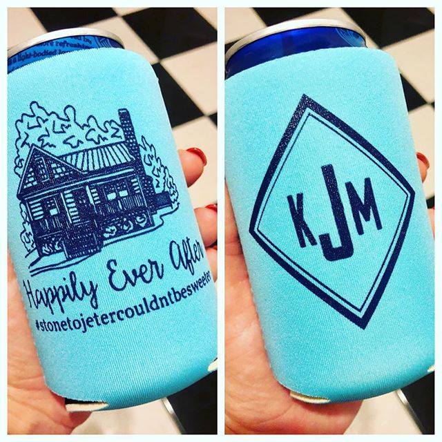 Loved these #engagementparty #koozies for _kirby_1229 + _mobleyjeter 😍🤵🏽👰🏼 A house drawing on a