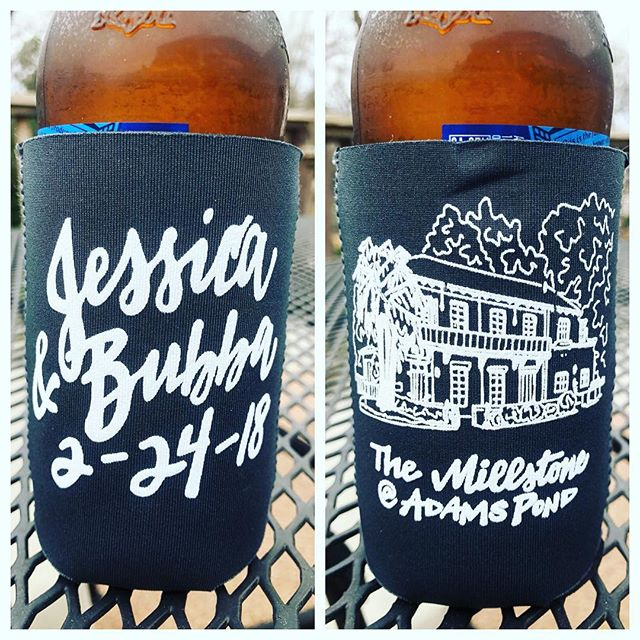 Jessica and Bubba are waking up #newlyweds ❤️ ••• #hithwedding #koozies #kearseinlove