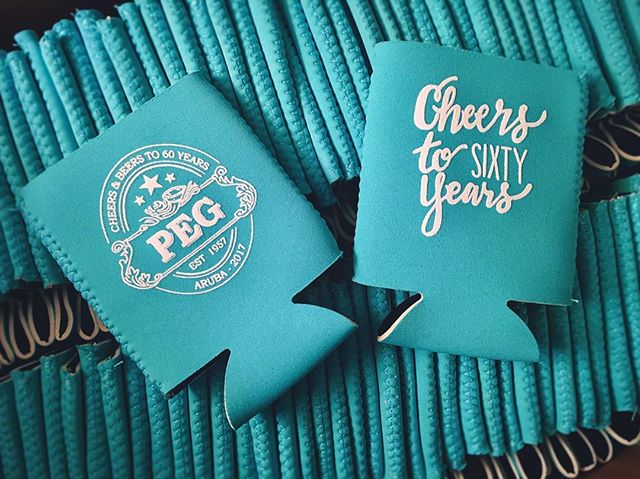 Happy 60th Peg! 🍺⛱☀️ Enjoy #Aruba! 🌊#customkoozies #koozie #cheersandbeers #birthdayparty #partyde