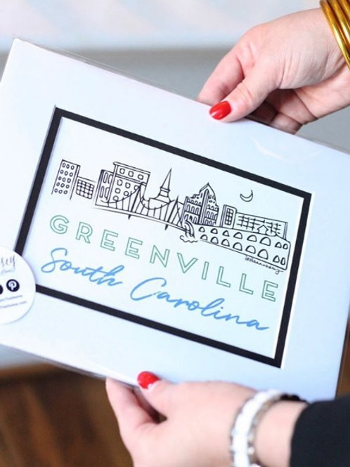 "Greenville SC Skyline - 5""x7"" print"