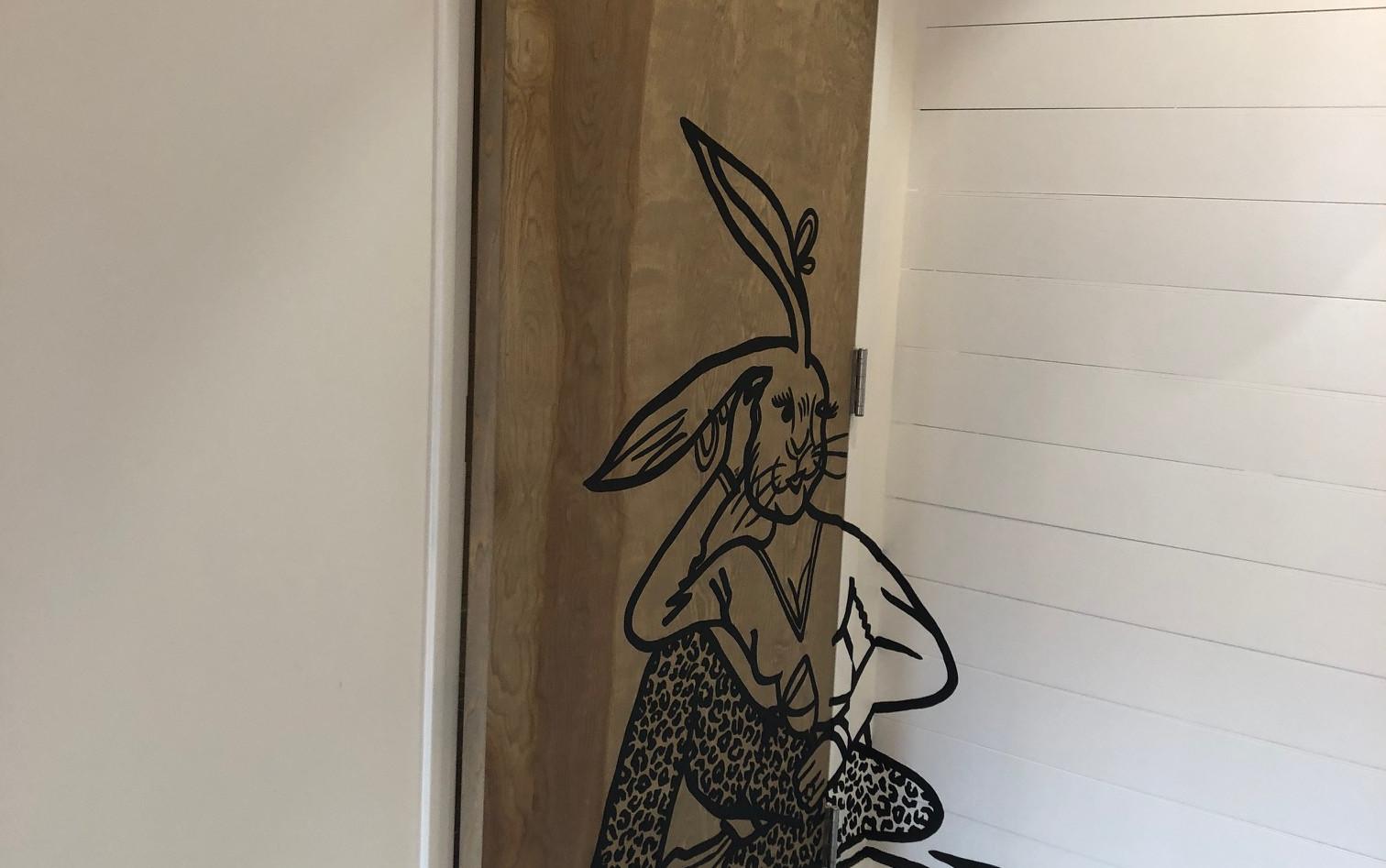 Hoppin' Rabbit Femal Bathroom Door
