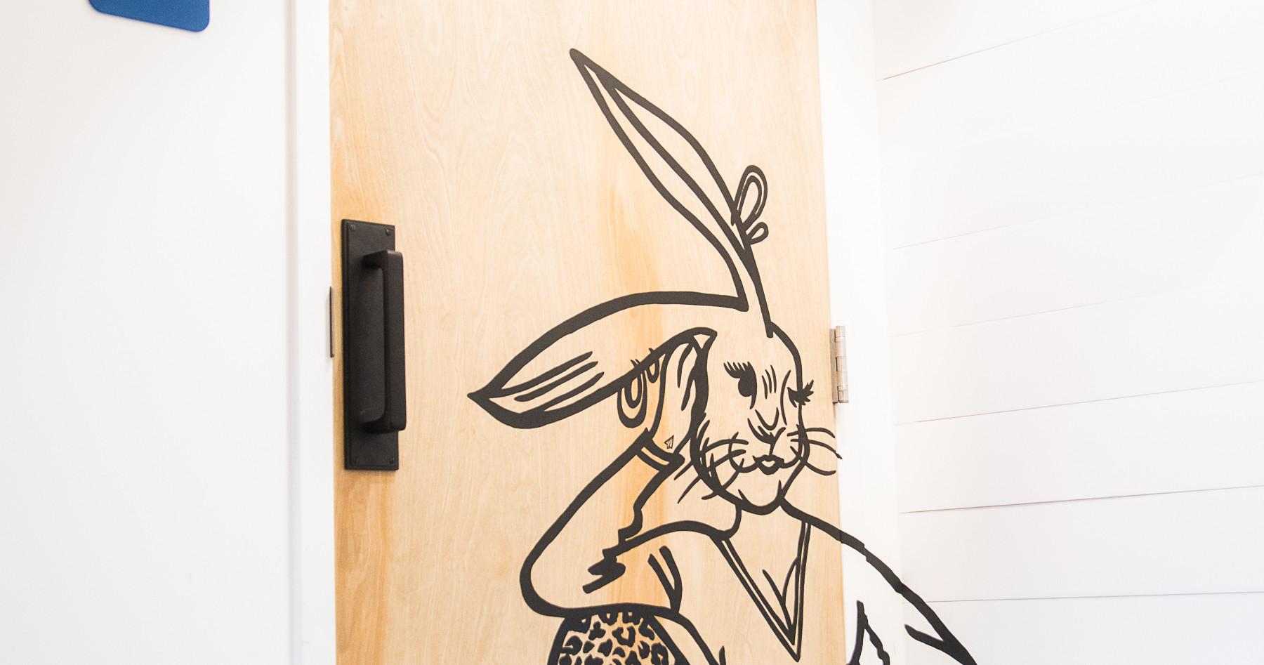 Hoppin' Sassy Rabbit Bathroom Door