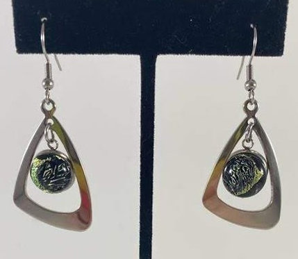 Gold and Silver Dichro Hanging Earrings
