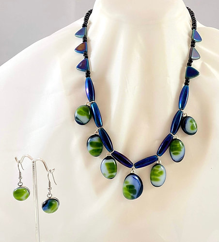 Blue, Green and White Earring and Necklace Set