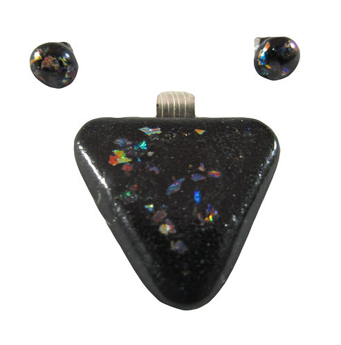 Black Sparkled Triangle Pendant and Earring Set